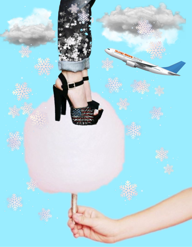 #freetoedit #arm #cottencandy #clouds #plane #handholdingcottoncandy #legsandhighheels  #standingoncottoncandy #fantasy #brusheffect  #snowflakes #madewithpicsart