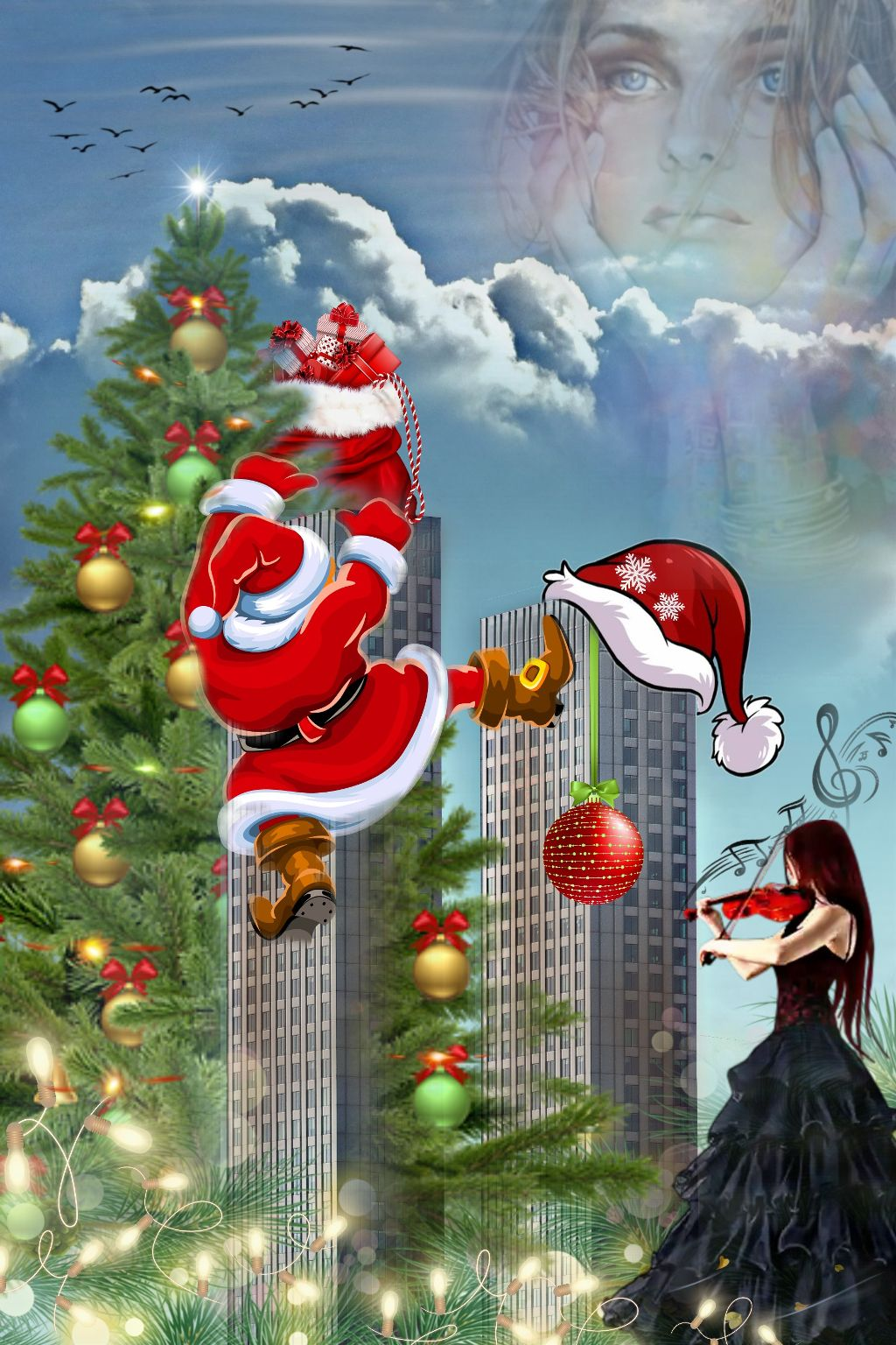 #freetoedit #freetoedit #bunia0914 #fantasy #story #mystory #myfantasy #tale #mytale #imaginations #myimaginations #myedit #myart #story #mystory #madewitpicsart #magicworld #christmastree #santaklaus #musik #clouds #birds #violin #christmas #merrychristmas #skyscrapers #lights #fantasyworld #happyday #winter #christmastime