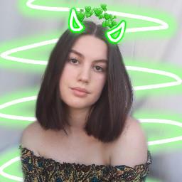 freetoedit green heartcrown devilhorns random