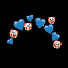 heartjoon blue clown emoji crown freetoedit