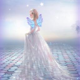 freetoedit fantasyart angel fairy mermaid srcpurplesparkles purplesparkles