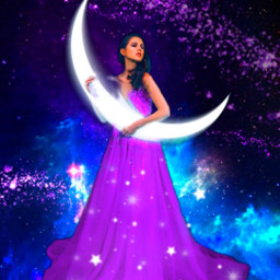 freetoedit fantasyart woman moon crescent srcpurplesparkles purplesparkles