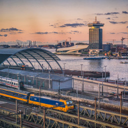 train trainstation travel europe amsterdam scenery freetoedit