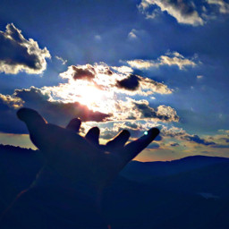 sky clouds blue hand myphotography