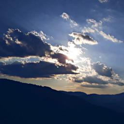 sky clouds beautiful sunset mountain