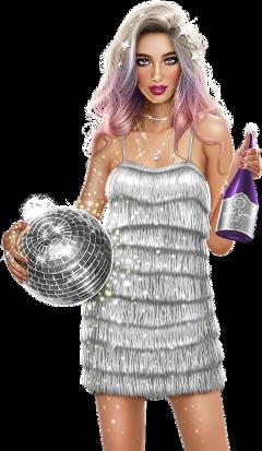 freetoedit girl newyearseve discoball bottle