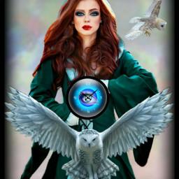 freetoedit woman clock owls owl ircmagiceye