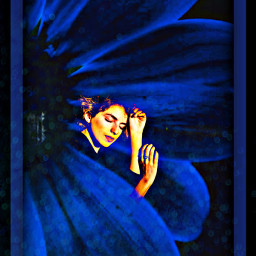 freetoedit blue black remixed girl ircharmonious harmonious