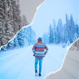 freetoedit snow winter papertear men