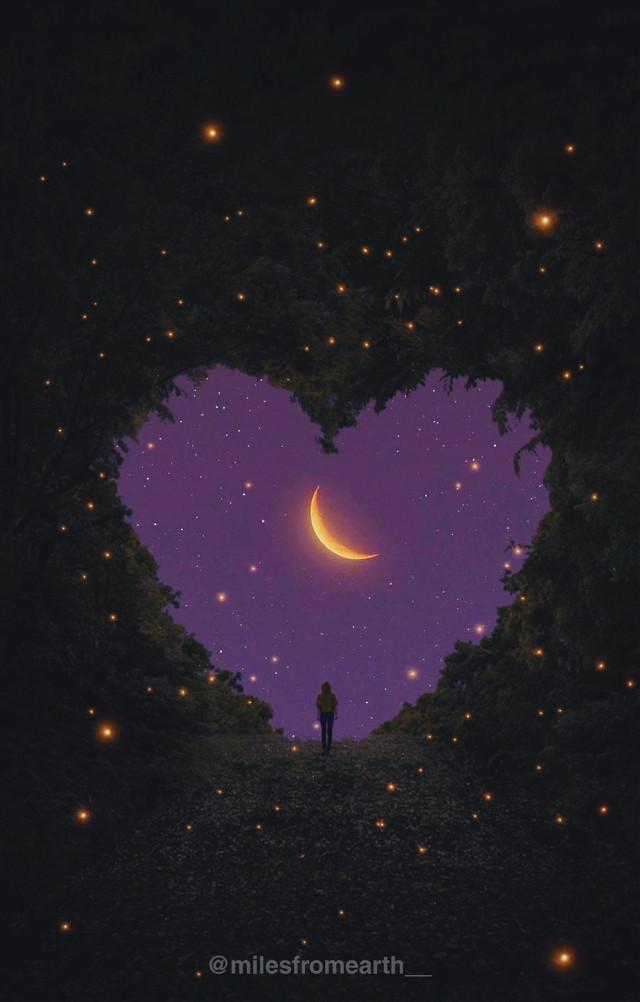 Heart sticker from @lupithavn14  #myedit #nature #moon #golden #sillhouette