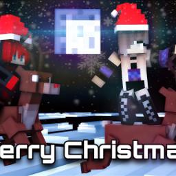 christmas minecraftart adobephotoshop night snowflakes