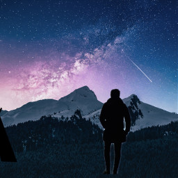 man camping starrysky mountains galaxy freetoedit ircmansilhouette mansilhouette