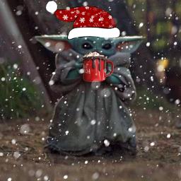 freetoedit babyyoda christmas snow starwars
