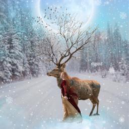 moon deer birds girl snow freetoedit