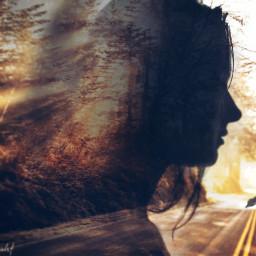 doubleexposure face trees road feelings freetoedit