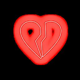 freetoedit broken heart red neon