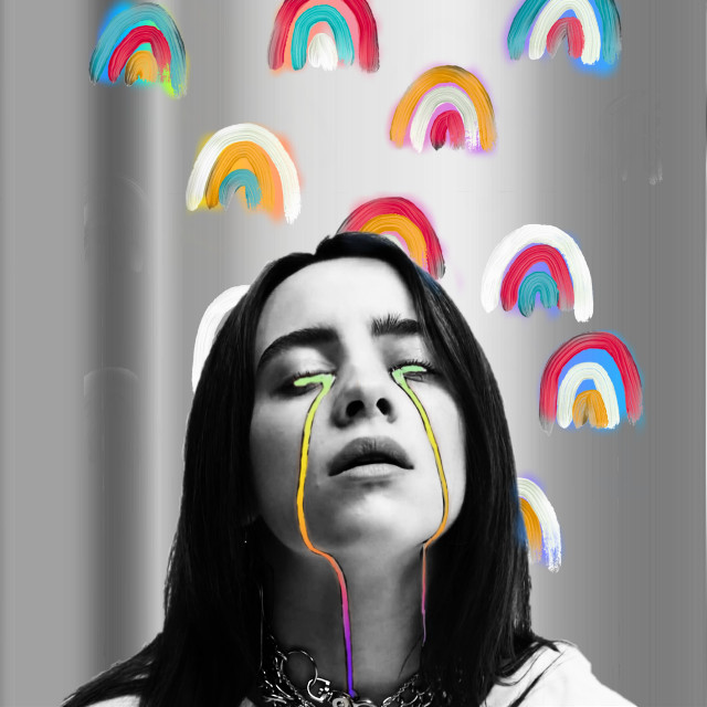 #freetoedit #rainbow #dream #billieeilish #myedit #colorsplash #pop #popstar #tears #cry