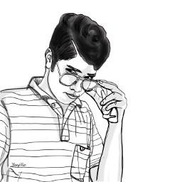boy instagramer friend outlineart drawing freetoedit