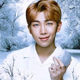 bts namjoon kpop snow winterwonderland freetoedit