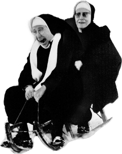 nun sled snow sisters freetoedit