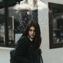 freetoedit clouds rain overlays girl