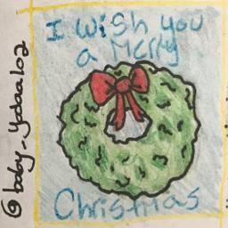 art wreath iwishyouamerrychristmas drawing coloredpencils