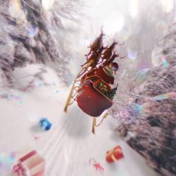 freetoedit santaclaus santassleigh gifts flying