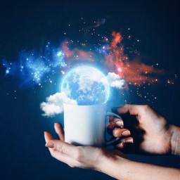 galaxy moon stars coffeecup freetoedit