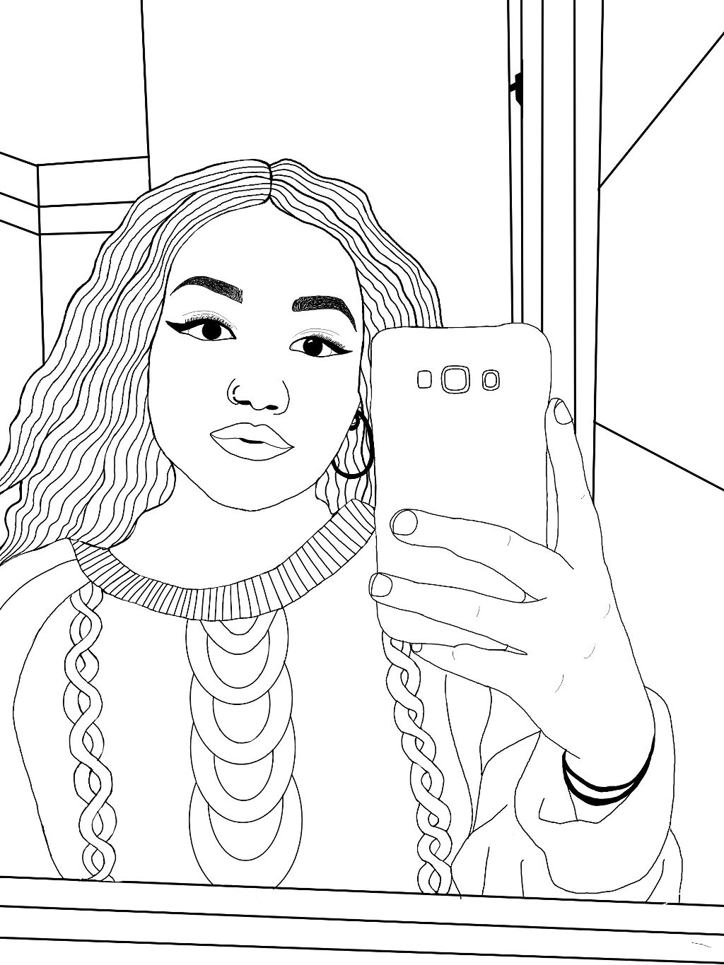 #outline #blackandwhite #me #myself #freetoedit  #girl #drawings #outilinedrawing