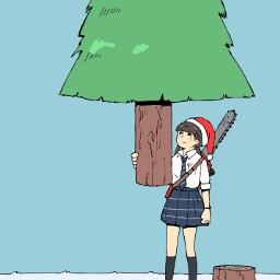 freetoedit drawing girl christmastrees