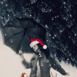 freetoedit cristmas noel woman umbrella