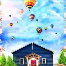 freetoedit hut balloons hotairballoons pretty
