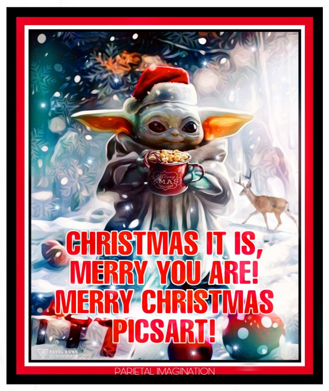 Edit by: Parietal Imagination Art  @pa, Credits: Bondart- Baby Yoda Remix #freetoedit  #ircchristmasdeer #christmasdeer #babyyoda #merrychristmas #happyholidays #fx #brushes #vip #madewithpicsart #parietalimagination