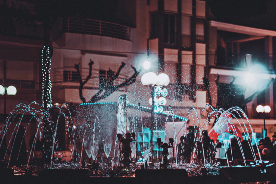 """""""I'm not calling you a ghost Just stop haunting me""""  #lyrics #fountain #lights #water #creoquevives #no #sé   #freetoedit"""