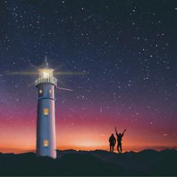 freetoedit beach lighthouse friends sunset