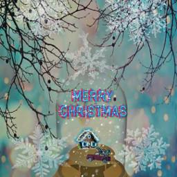 freetoedit snowglobe merrychristmas tree truck srcmerrychristmas