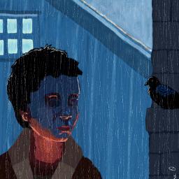 drawing rain boy raven