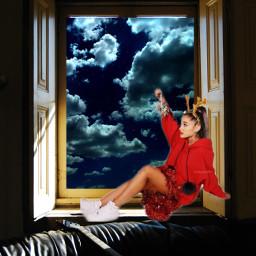 freetoedit clouds woman womansitting night ircwindow window