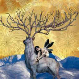freetoedit hoilday holidaymood fireworks deer fcholidaymood