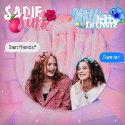 freetoedit milliebobbybrown sadiesink bestfriends bff