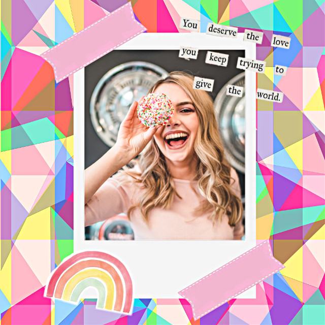 #freetoedit #pink #girl #colours #happy #filter #edit #fit #rainbow #text #tape #polaroidframe