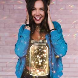freetoedit girls rainbows jar lights