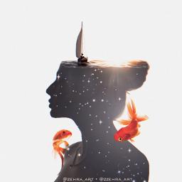 women doubleexposure sea ship silhouette freetoedit ircelegantsilhouette