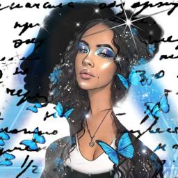 freetoedit blue sparkles butterflies cursivewriting ircelegantsilhouette