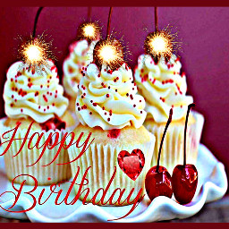 freetoedit happybirthday text cupcakes sparklers