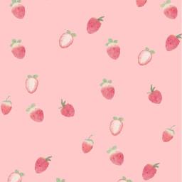 freetoedit pink background strawberry girl