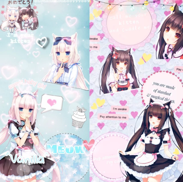 Collab with amazing @ibukimioda66999669 💖 Vanilla part's by @ibukimioda66999669 and Chocola part's by me 💗  So cute 💕 Thx for a nice collab! Follow @ibukimioda66999669 to see more beautiful works 🥰  Mornin' uwu  #vanilla #chocola #nekopara #nekoparadise #nekoparavanilla #nekoparachocola #pastelblue #pastelpink