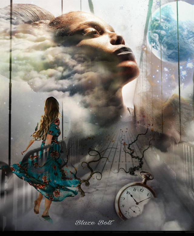 #freetoedit This week's #vipshoutout goes to the amazing edits of @ronaldbirdhenley Please check out this beautiful gallery. #janetjackson #doubleexposure #clouds #time #bridge  #girl #clock #earth #planet #stars