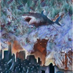 freetoedit remix picsart shark mountains