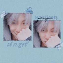 freetoedit blue aesthetic rapmonster kimnamjoon